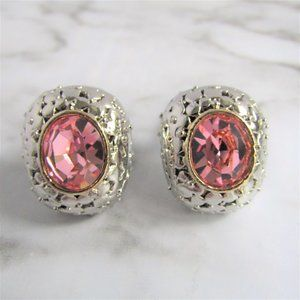 3 for $25 - Silver Tone Pink Rhinestone Clip Ons